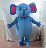 traje de elefante azul venda por atacado-2018 Desconto venda da fábrica a cabeça azul traje da mascote do elefante para adulto para usar