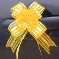 arcos de puxar organza venda por atacado-10pcs de alta qualidade Organza Puxe a caixa dos doces Bow Fita da flor do papel de embrulho Acessórios DIY Wedding Decor Car Suprimentos Flor Fitas