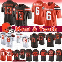 ingrosso marrone xl-13 Odell Beckham Jr Browns maglia 6 Baker Mayfield 80 Jarvis Landry 95 Myles Garrett Cleveland Nick Chubb Ward Thomas Peppers Browns Youth