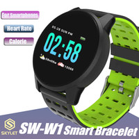 Wholesale waterproof watch camera online - W1 Smart Watch SW W1 Bluetooth Wireless Smart Bracelet with Heart Rate Calling Message for Apple IOS Android Cellphones with Retail Box
