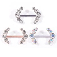 Wholesale nipples charms resale online - 1pcs Surgical Steel Charming CZ Gem AB Crystal Nipple Barbell Rings Clear Gem Nipple Ring Piercing Jewelry