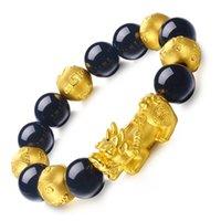 mascote jóias venda por atacado-Banhado a ouro Seis Palavra Mantra Buddha Beads Riqueza Pixiu Pulseira Preto Obsidian Frisado Pulseira Religiosa Mascote Jóias