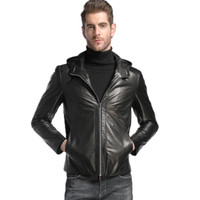 Wholesale sheeps skin jackets coats online - mens clothing outerwear jacket coats hooded genuine leather sheep skin custom made black leather coats