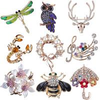 kristal şemsiye toptan satış-Toptan-Başörtüsü Pimleri Moda Altın Kristal Şemsiye Broş Takı 2019 Korsaj Eşarp Kazak Yaka Pin Suit Kadınlar için Broşlar