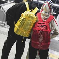 siyah marka poşetler toptan satış-Seyahat çantası Avrupa ve Amerika tarzı açık Sırt çantası yeni moda okul çantası naylon marka bookbag (siyah, kırmızı, sarı)