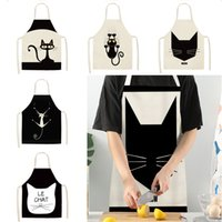 Wholesale aprons for women for sale - Group buy Multifunctional Kitchen Apron Funny Cat Printed Sleeveless Cotton Linen Aprons for Men Women Home Cleaning Tools WX9