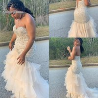 mermaid crystal sweetheart kolsuz gece elbisesi toptan satış-2019 Mermaid Sevgiliye Lace Up Kristaller Sweep Tül Kolsuz High End Kalite Akşam Parti Elbise Sıcak Satış
