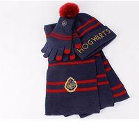 ingrosso i guanti di sciarpa del cappello fissano le donne-harry potter cappello sciarpa set di guanti inverno caldo 3 pz 1 set costumi cosplay uomo donna ragazzo ragazza hogwarts cappello stampa LJJK1789