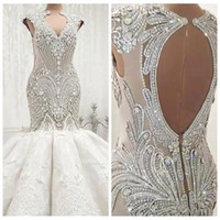 Wholesale dress marriage luxury for sale - Group buy 2019 Luxury Bling Bling Crystals Mermaid Wedding Dresses Sexy Open Back Bridal Gowns Sleeveless Vestidos De Marriage Formal Wedding Wear