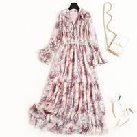neue frauen kleider chiffon rosa großhandel-Neue 2019 Autumn Fashion Womens Rüschen V-Ausschnitt Chiffon Langes Kleid Flare Sleeve Blumenmuster Print Cute Pink Dresses