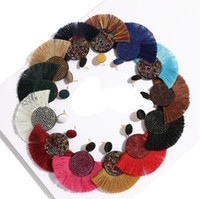 uzun renkli küpeler toptan satış-Toptan Püskül küpe bohem deyimi lüks uzun küpe Afrika renkli el yapımı kadın geometrik saçak moda büyük elmas taklidi