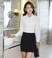 a09330b602 Frühlings-Fall-formale Frauen-Anzüge mit Rock und Bluse stellt weiße  Hemden-Oberseiten OL Damen-Büro-einheitliche Arten ein