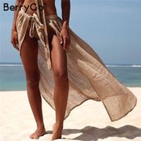 moda saias de banho venda por atacado-BerryGo Sexy longo praia mulheres encobrir ups Lace up swimsuit ver através de saias femininas Moda férias algodão sarongues sólidos saias