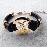 gewebtes gold leder armband großhandel-M marke designer armband für frauen männer strass armbänder hochwertige weben leder gold silber rose gold farbe einstellbar armreif