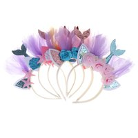 Wholesale 1st birthday accessories resale online - 1PCS Mermaid Party Crown Headband Party Mermaid Tail Hat Photo Props For Girl st Birthday Hair Accessories
