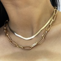 Wholesale pin unique gift resale online - Christmas Gift Unique Women Jewelry Gold Filled Micro Pave CZ Safety Pin Link Chain Choker Necklace cm Sexy Layer