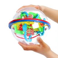 yapboz beyin testi yapboz yazdır toptan satış-100 seviyeleri 3D bulmaca Labirent Top Akıl Topu Labirent Küre Küre Oyuncaklar Zorlu Engelleri Oyunu Beyin Test Cihazı Denge Eğitimi 929A B