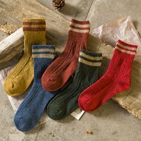 Wholesale wear socks for sale - Group buy Women Winter Knitted Stockings Solid Color Warm Casual Middle Socks Fit Teenagers Outdoor Wear Netherstock RRA1917