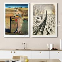 Wholesale canvas oil paintings dali for sale - Group buy Salvador Dali Clock Classic Print Abstract Subconscious Poster Oil Painting On Canvas Picture For Living Room Bedroom Home Decor