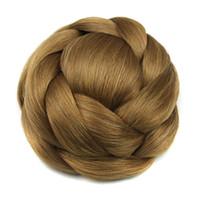 Wholesale bun braid resale online - 6 Colors Synthetic Hair Pieces Brown Black Braided Chignon Hair Bun Donut Party Hair Accessories for Women