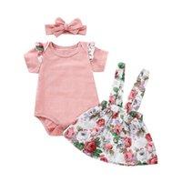 conjunto rosa bebê venda por atacado-Canis bebê recém-nascido menina rosa verão tops romper impressão saia floral roupas set roupas 0-24m