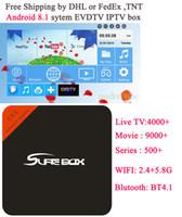 kostenlose arabische fernsehkanäle iptv großhandel-EVDTV HAY IPTV Frankreich IPTV Türkei ARABIC TV Netherlands 4000 Kanäle VOD EPG mit einem kostenlosen Modell E8X Android 8.1 System TV-Box 2 + 16 GB WIFI + BT