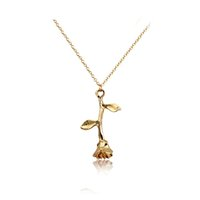 3391f8d2a7 Fashion Jewelry Collier Pink Gold Rose Statement Pendant Necklace Women's  Beauty and Beast Jewelry Lovers Gifts
