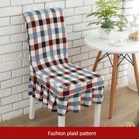 capas de assento de xadrez venda por atacado-Moda Plaid Spandex Cadeira Covers Estiramento Casamento Elástico Jantar Assento Dobrável Plissado Casos de Cadeira de Saia para o Hotel cozinha Casa