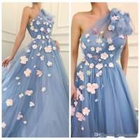 Wholesale flower girl dresses coral red resale online - 2020 One Shoulder Tulle Evening Dresses Handmade Flowers Adorned Spring Celebrity Party Gowns Yong Girls Formal Wear Prom Gowns