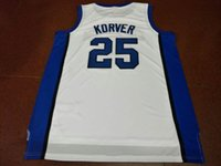 брошь трикотажные изделия 4xl оптовых-Джерси баскетбола колледжа Крейтон Bluejays # 25 Корвер Джерси атавизма сшитого Цвет белого выполненный на заказ размера S-5XL