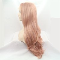 Wholesale diy toys for sale - Group buy Women Wavy Wig Pink Wave Wigs Synthetic Full Wavy Wigs Holiday DIY Decoration Toys Heat Resistant Women Long Wigs