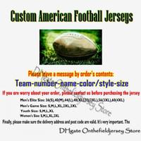 personalisierte matches großhandel-Personalisierte New American Football Trikots Benutzerdefiniert Alle 32 Teams Genäht Beliebig Name Nummer Mens Womens Youth Kid S-4XL Mix Match Order