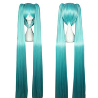 ingrosso parrucca blu mix-Parrucche piene lunghe diritte blu con Bangs 2 coda di cavallo Capelli cosplay anime per Vocaloid Hatsune Miku Figura Mix Flat Bangs Capelli sintetici