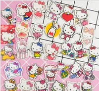 Wholesale kitty pin resale online - New creative Cartoon cute Japanese anime hello kitty cats acrylic Patch Jewelry Accessories Button Pin DIY Decoration