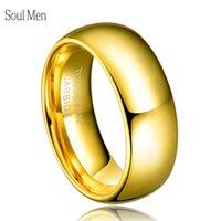 nişan halkası ebadı 6.5 toptan satış-Erkek kadın Klasik Yıldönümü Yüzük 8mm Altın Renk İttifak Tungsten Düğün Nişan Band Hiçbir Taş Abd Boyutu 4-15 Tu003r T190624