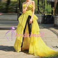 sarı tül balo elbiseleri uzun toptan satış-Kadın Tulumlar 2019 Straplez Sarı Tül Uzun Afrika Gelinlik Modelleri Siyah Pantsuits Örgün Abiye giyim Ile Dubai Arapça Parti Elbise