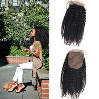 natürliche seide zum verkauf großhandel-Heißer Verkauf Silk Basis Schließung Afro Verworrene Lockige 4x4 Natürliche Farbe Versteckte Knoten 100% Natürliche Nagelhaut Haar Meistverkaufte Produkte G-EASY