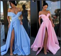Wholesale off shoulder pink bridesmaid dresses resale online - 2020 Generous Pink Off The Shoulder Satin A Line Long Bridesmaid Dresses Ruched High Split Plus Size Maid of Honor Evening Prom Dresses