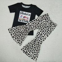 Wholesale milk baby clothes resale online - New Fall winter baby girls kids wear outfits hooked on my daddy milk silk ruffle pant boutique children clothing Y200525