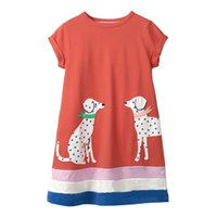 Wholesale christmas designer kids dresses for sale - Girl Princess Mermaid Cotton Dress Designer Stylish Summer Dress Short Sleeve Kids Dresses with Animal Patterns