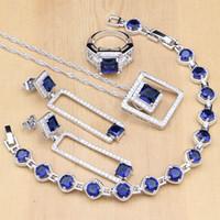blaue stein armband-sets großhandel-Quadrat Silber 925 Schmuck Sets Blau Stein Weiß CZ Perlen Coustome Für Frauen Ohrringe / Anhänger / Ringe / Armband / Halskette Set