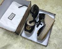 espadrille mulheres venda por atacado-Sandálias de couro clássico feminino Sippler, apartamentos de espadrille com palha sola de tecelagem sapatos casuais mulheres Slip-on para uso diário