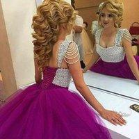 lila quinceanera kleidet rüschen großhandel-Günstige Lila Sweet 16 Quinceanera Kleider Schatz Rüschenzug Perlen Vestidos De 15 Anos Debütantin Kleider Plus Größe 2020