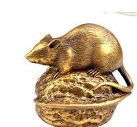 zodiac feng shui venda por atacado-Novo ++ O cobre doze rato do zodíaco decoração Feng Shui Wang Yun Cai noz rato enfeites de artesanato mascote