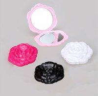 espejo redondo al por mayor-Espejos de maquillaje plegables Espejo de maquillaje lindo Forma de flor redonda Espejo de bolsillo Mini espejos Herramienta de maquillaje