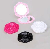 runder spiegel großhandel-Falten Schminkspiegel niedlich Schminkspiegel Runde Blume Form Taschenspiegel Mini Spiegel Make-up-Tool