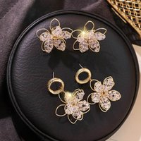 Wholesale double layer earrings resale online - 2019 New Hollow Out Double Layers Crystal Flower Earrings Handmade Women Fashion Jewelry Pendientes