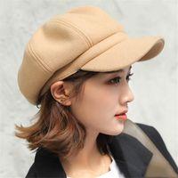 Wholesale korean girl style hat for sale - Group buy Ins Nordic style pumpkin hat ladies British beret fashion octagonal hat Korean version of Japanese painter hat