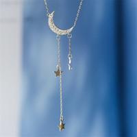 Wholesale sterling silver moon pendant resale online - Moon Star Tassel Pendent Necklace Women Jewelry Sterling Silver Choker Necklace Femme Chain Necklaces Women Vintage Necklacs