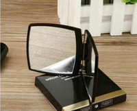 espejos plegables portátiles al por mayor-2019 Nuevo Clásico de Alta calidad de Acrílico Plegable de doble lado espejo / Clamshell negro portátil espejo de maquillaje + con caja de regalo vip regalo